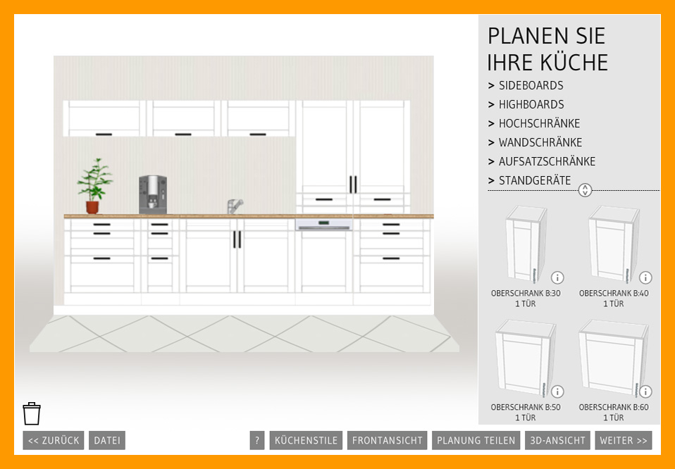 Günstige küchen planen  Günstige Einbauküchen mit Elektrogeräten online planen und ...
